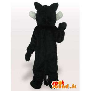Mascot schwarz und weiß Wolf mit scharfen Zähnen - Wolf Kostüm - MASFR00669 - Maskottchen-Wolf