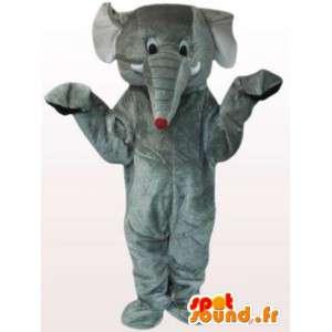 Mascotte grijze olifant muis met zijn staart - Costume grijze olifant