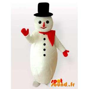 Mascotte bonhomme de neige avec grand chapeau noir