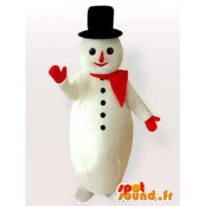 Pupazzo di neve mascotte con grande cappello nero