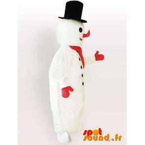 Maskottchen-Schneemann mit großen schwarzen Hut - MASFR00896 - Menschliche Maskottchen