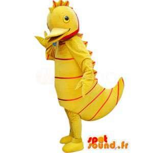 Žlutá kachna maskot s červenými pruhy - kachna kostým