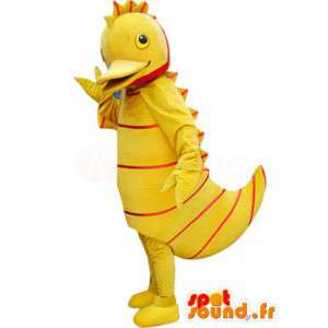 Gele eend mascotte met rode strepen - eend kostuum