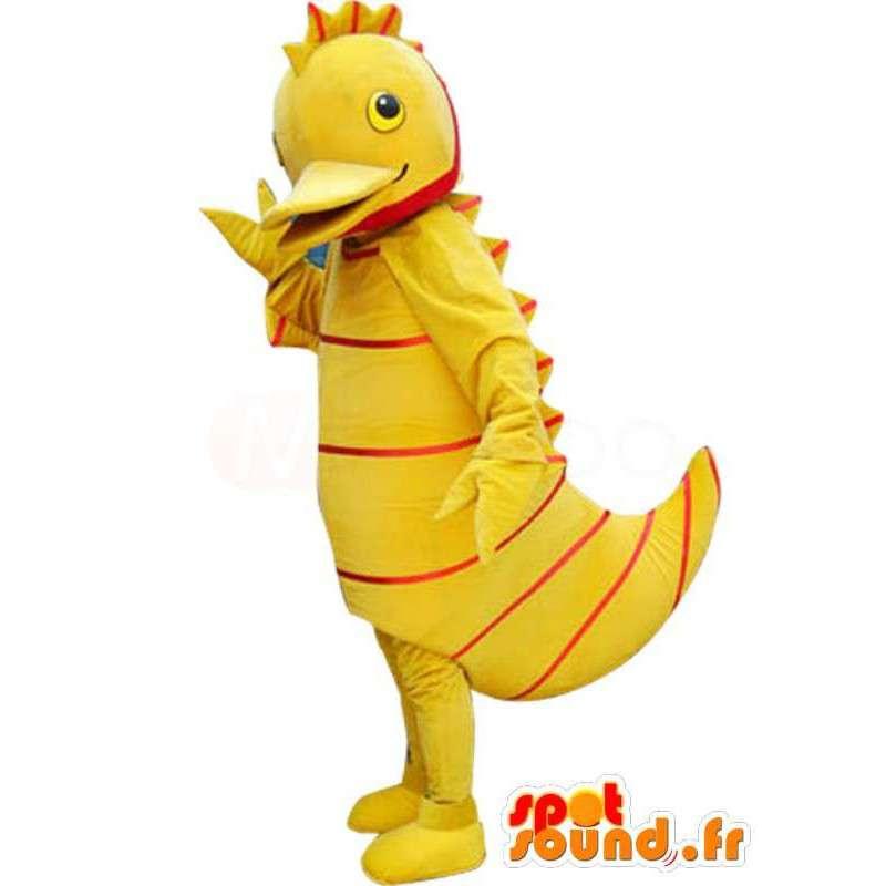 κίτρινο πάπια μασκότ με κόκκινες ρίγες - πάπια φορεσιά - MASFR00888 - πάπιες μασκότ