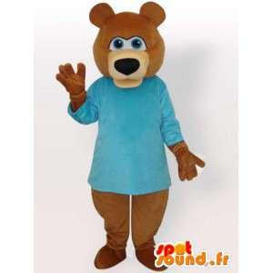 Mascotte bruine beer met blauwe trui - bruin dieren kostuum