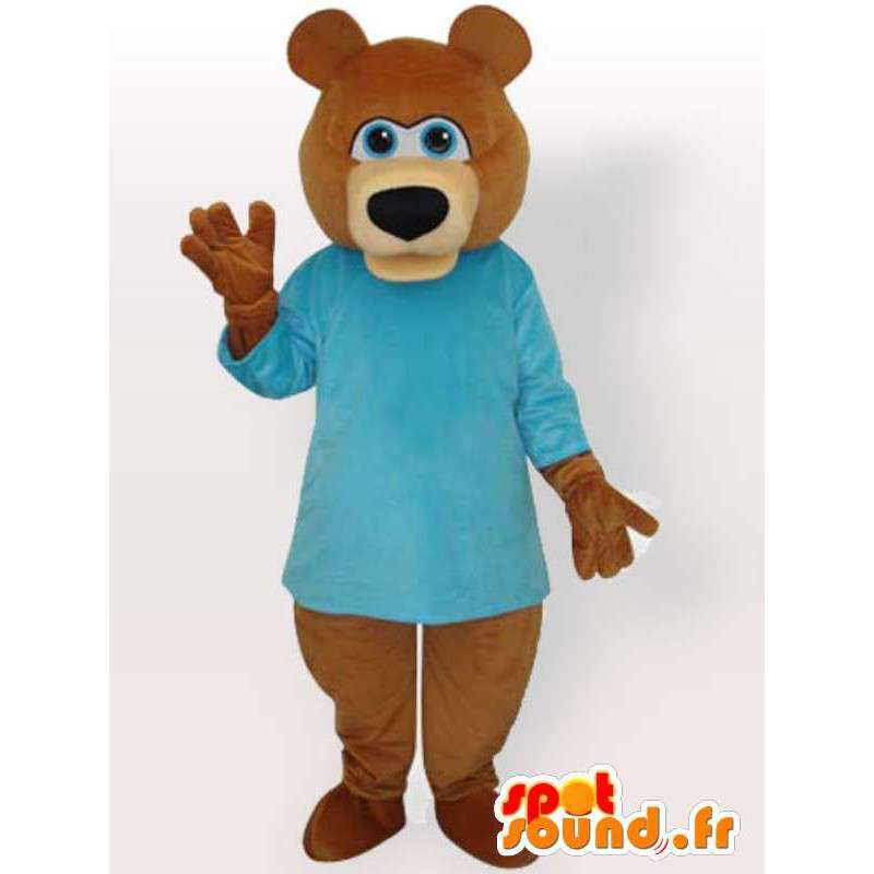 Mascotte ours brun avec pull bleu - Déguisement animal brun - MASFR00893 - Mascotte d'ours