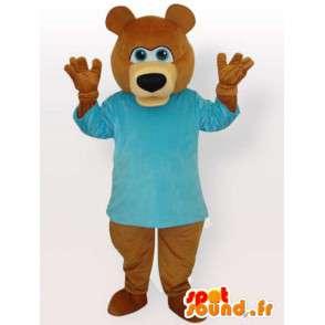 Μασκότ καφέ αρκούδα με μπλε πουλόβερ - καφέ ζώο κοστούμι - MASFR00893 - Αρκούδα μασκότ