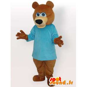 Maskot brunbjørn med blå genser - brun dyr kostyme - MASFR00893 - bjørn Mascot