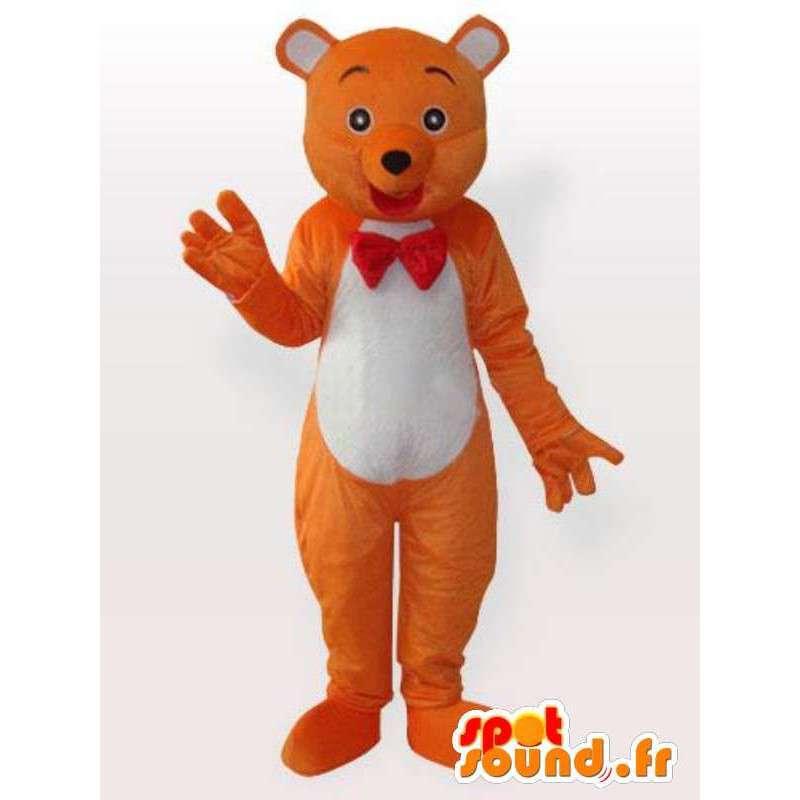 Mascotte bjørn med tversoversløyfe - Disguise oransje bjørn - MASFR00899 - bjørn Mascot