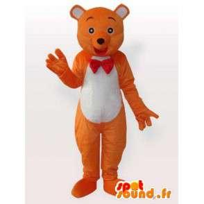 La mascota del oso con corbata de lazo - naranja traje de oso - MASFR00899 - Oso mascota