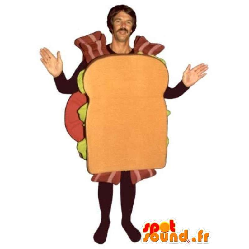 マスコット男のベーコンのサンドイッチ - 変装すべてのサイズ - MASFR00920 - マンマスコット