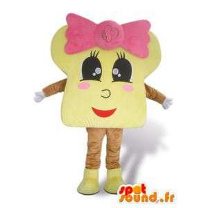 Maskot brioche s růžovou mašlí - převlek všech velikostí