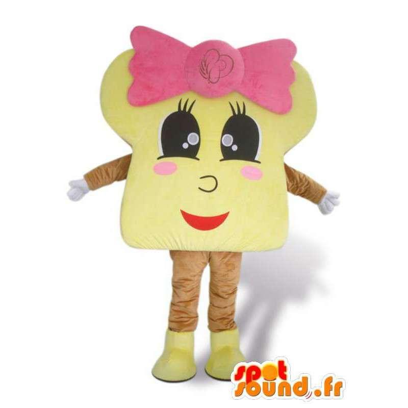 Μασκότ τσουρέκι με ροζ φιόγκο - Μεταμφίεση όλα τα μεγέθη - MASFR00917 - μασκότ ζαχαροπλαστικής