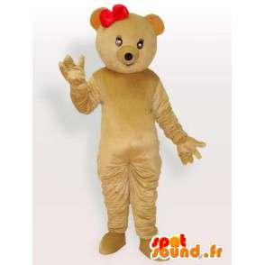 Bamse kostyme med liten rød sløyfe - bære drakt - MASFR001105 - bjørn Mascot