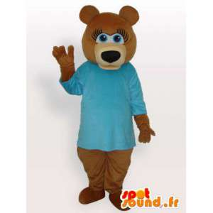 Strój misia w niebieskiej koszuli - nosić kostium
