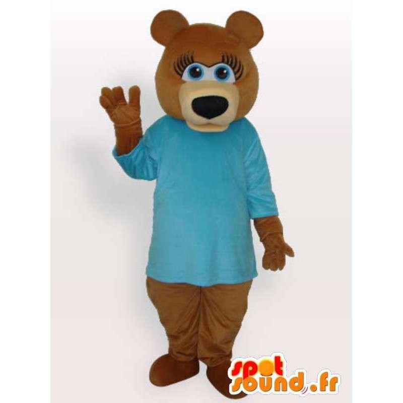 Strój misia w niebieskiej koszuli - nosić kostium - MASFR00926 - Maskotka miś
