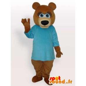 Bamse kostyme i blå skjorte - bære drakt - MASFR00926 - bjørn Mascot