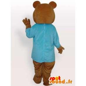 Medvídek kostým v modré košili - medvěd kostým - MASFR00926 - Bear Mascot