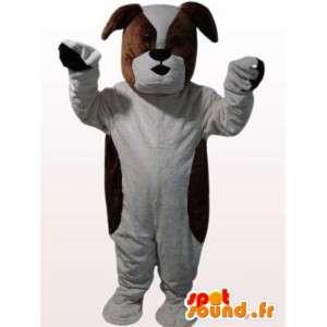 Bulldog costume - Costume marrone e cane bianco