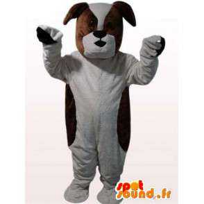 Bulldog costume - Costume marrone e cane bianco - MASFR00961 - Mascotte cane