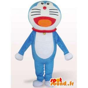 Terno do gato grande cabeça azul - traje azul gato - MASFR001080 - Mascotes gato
