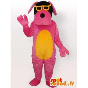 Costume de chien avec lunettes de soleil - Déguisement rose - MASFR001067 - Mascottes de chien