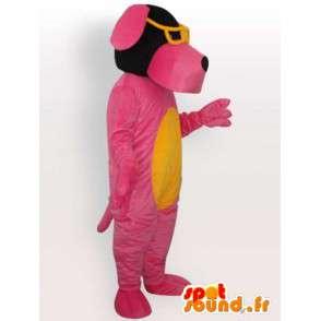 Dog-Kostüm mit Sonnenbrille - rosa Kostüm - MASFR001067 - Hund-Maskottchen