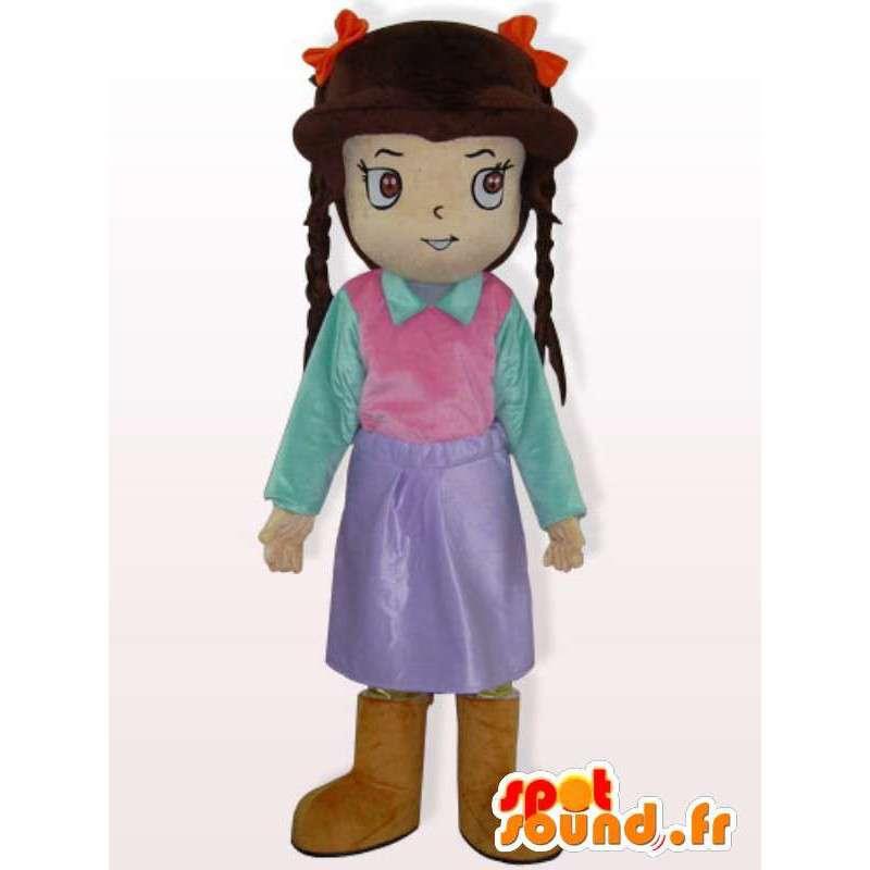 κορίτσι κοστούμι με πλεξούδες - ντυμένος κορίτσι κοστούμι - MASFR00929 - Μασκότ Αγόρια και κορίτσια