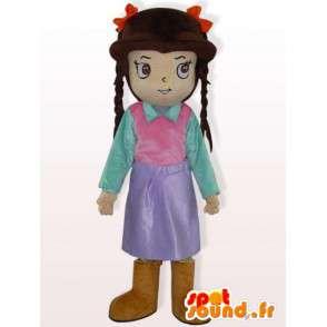 Dívka kostým s copánky - oblečená dívka kostým - MASFR00929 - Maskoti chlapci a dívky