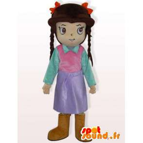 Girl with braids costume - Costume girl dressed - MASFR00929 - Mascots boys and girls