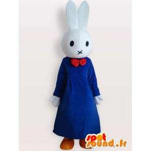 青いドレスを着たうさぎのコスチューム-ドレスアップしたうさぎのコスチューム-MASFR001096-うさぎのマスコット