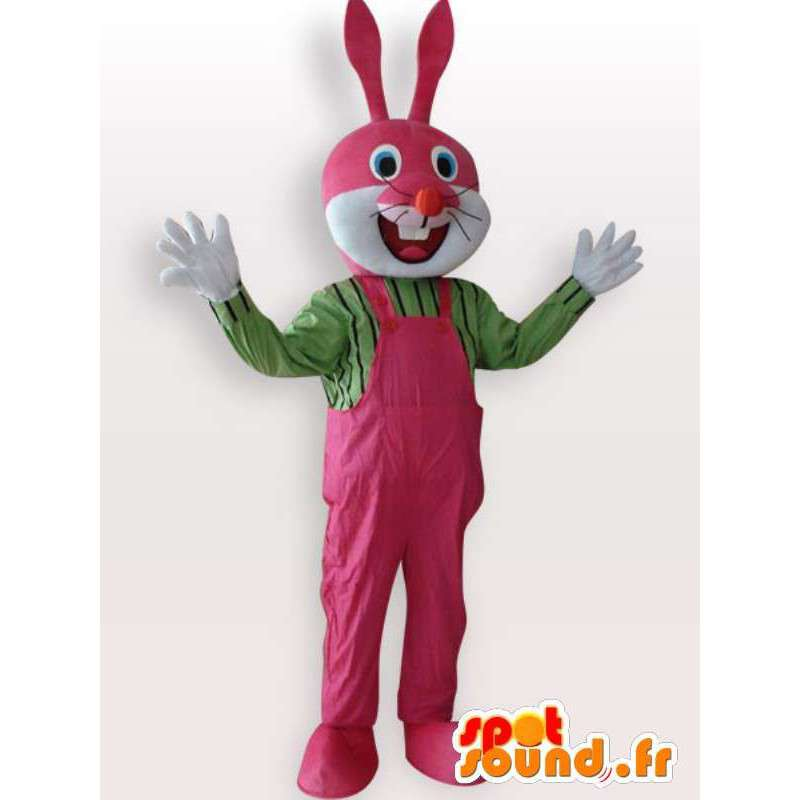 Rabbit costume with pink overalls - Disguise quality - MASFR001070 - Rabbit mascot