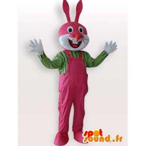 Costume de lapin avec salopette rose - Déguisement de qualité - MASFR001070 - Mascotte de lapins