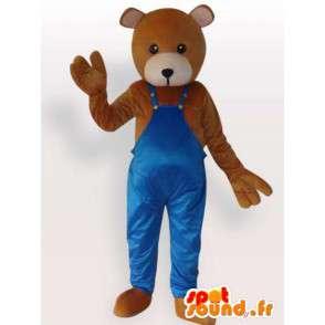 Costume de nounours bricoleur - Déguisement nounours habillé - MASFR00948 - Mascotte d'ours
