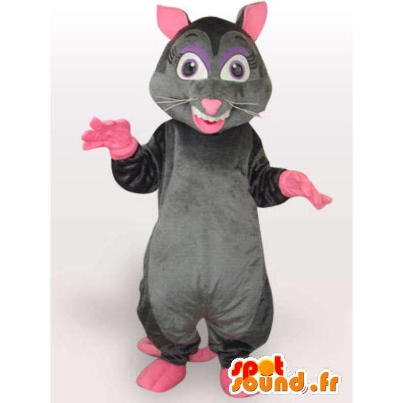 Costume de rat méchant - Déguisement avec grande queue rose - MASFR00964 - Mascottes Animaux domestiques
