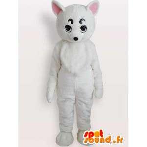 Kostüm weiße Maus - Maus Plüschkostüm
