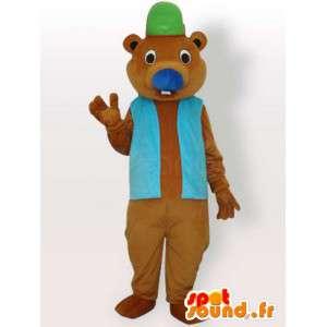 Mascotte castor avec accessoires - déguisement animal brun