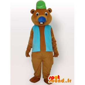Bever mascotte met toebehoren - bruin dier vermomming - MASFR001155 - Beaver Mascot