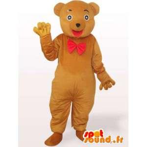 Mascote urso de pelúcia com laço vermelho - fantasia de urso