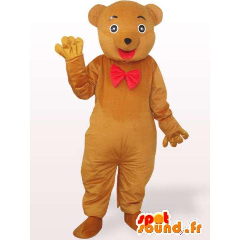 αρκουδάκι μασκότ με κόκκινο παπιγιόν - αρκούδα κοστούμι - MASFR00965 - Αρκούδα μασκότ