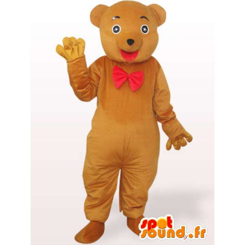 Mascot Bear with bow-tie - red bear costume - MASFR00965 - Bear mascot