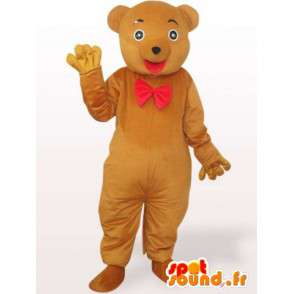 Nalle maskotti punaisella rusetti - karhun puku - MASFR00965 - Bear Mascot