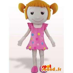 Mascotte d'une fillette avec des couettes - Déguisement en peluche