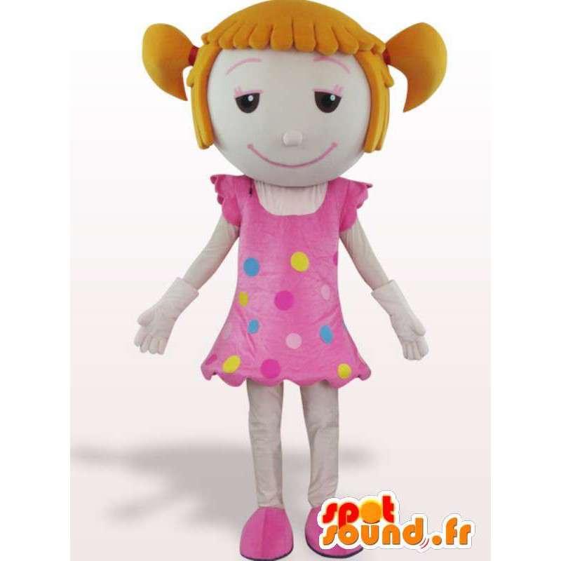Mascotte d'une fillette avec des couettes - Déguisement en peluche - MASFR001103 - Mascottes Garçons et Filles