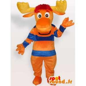 オレンジ色の鹿のマスコット - ペットコスチューム森