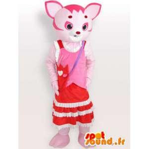 Růžová kočka maskot - pet kostým