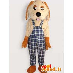 チェック柄のオーバーオール付き犬のマスコット-犬のコスチューム-MASFR001061-犬のマスコット