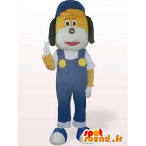 Mascotte de chien bricoleur - Déguisement avec salopette