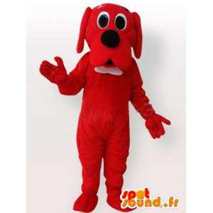 Mascotte de chien rouge avec nœud blanc - Déguisement de chien