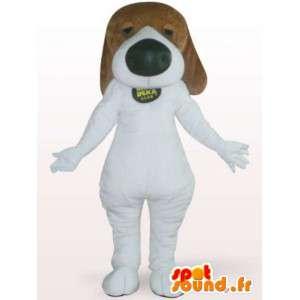 Perro de la mascota con la nariz grande - Disfraz perro blanco